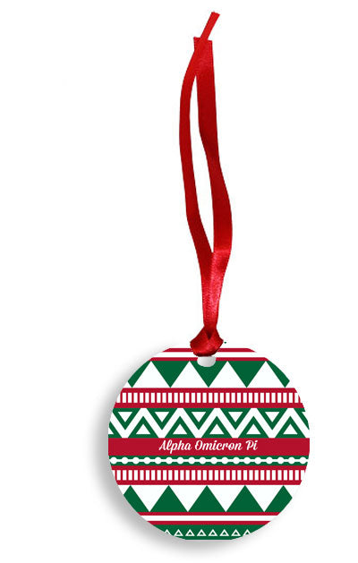 Alpha Omicron Pi Red and Green Tribal Pattern Sunburst Ornament