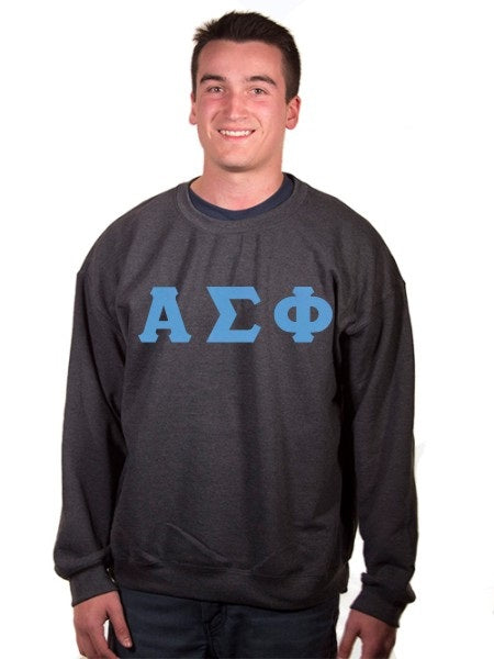 Alpha Sigma Phi Crewneck Sweatshirt with Sewn-On Letters