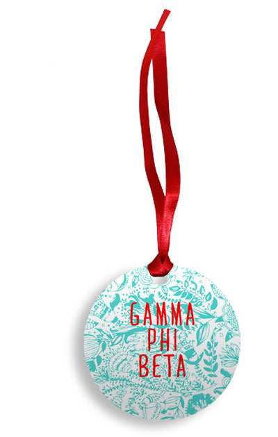 Gamma Phi Beta Floral Pattern Sunburst Ornament