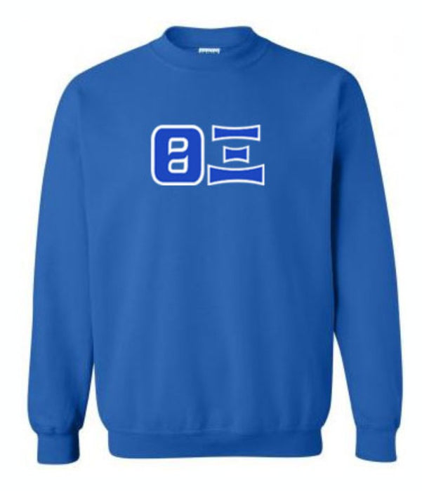 Theta Xi Classic Colors Sewn-On Letter Crewneck