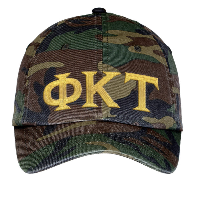 Phi Kappa Tau Letters Embroidered Camouflage Hat