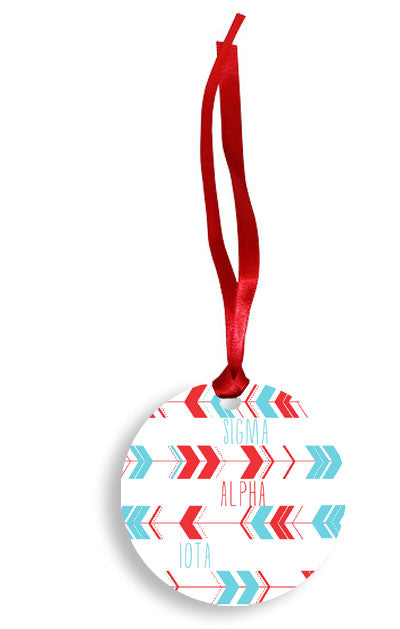 Sigma Alpha Iota Red and Blue Arrow Pattern Sunburst Ornament