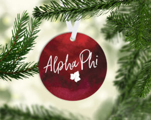 Alpha Phi Round Acrylic Watercolor Ornament