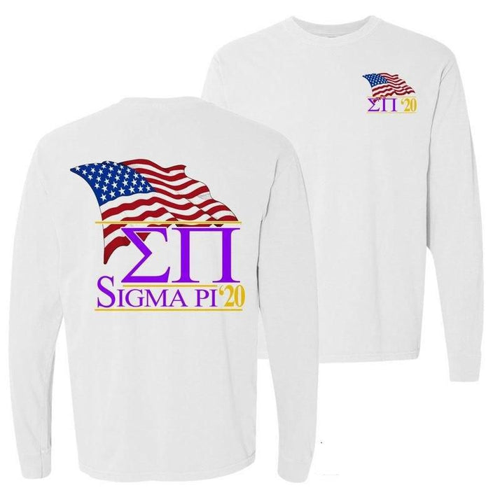 Sigma Pi Patriot Flag Comfort Colors Long Tee