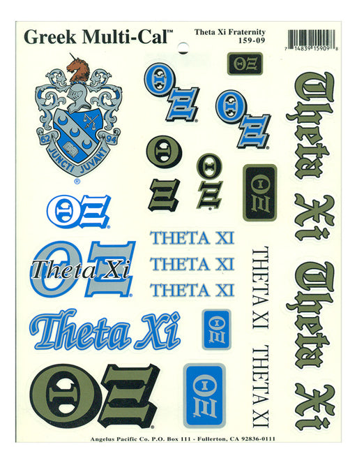Theta Xi Multi Greek Decal Sticker Sheet