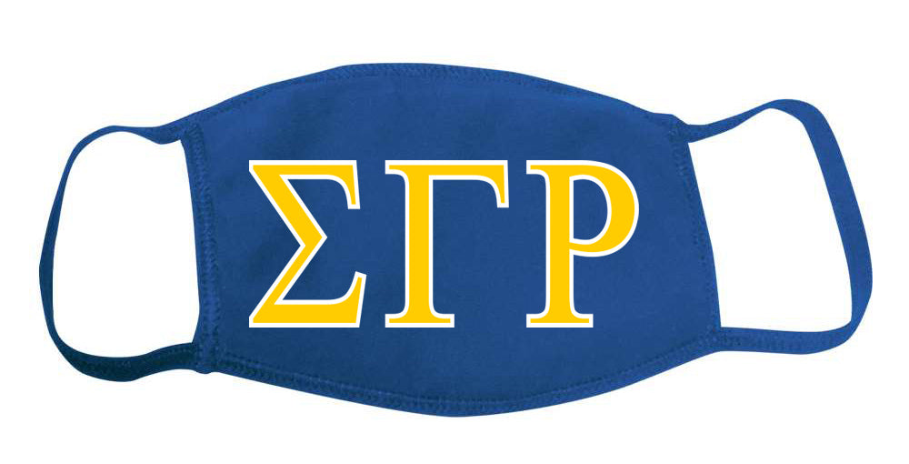 Sigma Gamma Rho Face Mask With Big Greek Letters