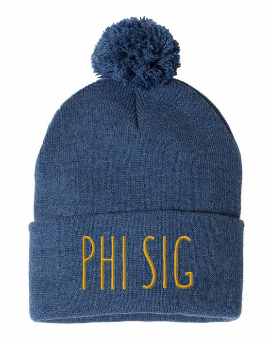 Phi Sigma Sigma Sorority Beanie With Pom Pom