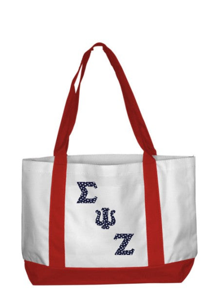 Sigma Psi Zeta 2-Tone Boat Tote with Sewn-On Letters