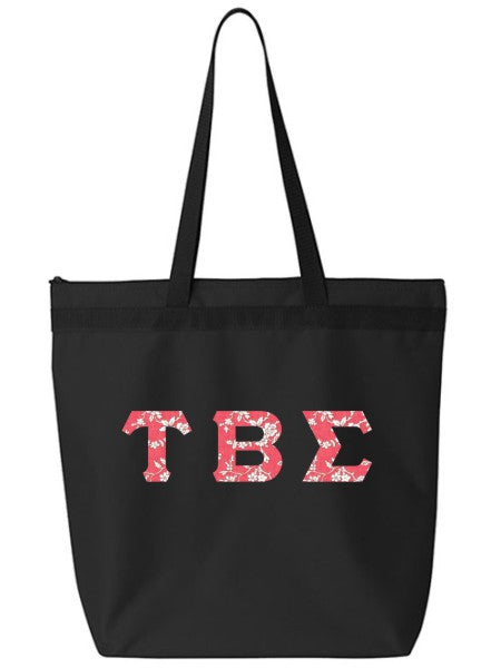 Tau Beta Sigma Large Zippered Tote Bag with Sewn-On Letters