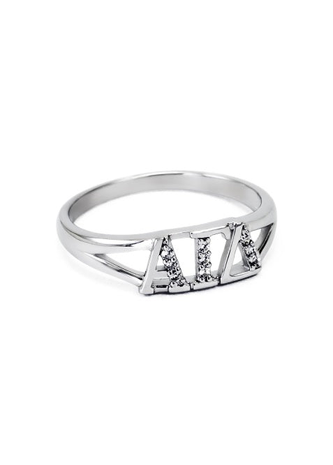 Alpha Gamma Delta Sterling Silver Ring with Lab Created Clear Diamond