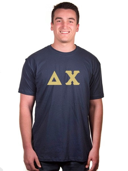 Delta Chi Short Sleeve Crew Shirt with Sewn-On Letters