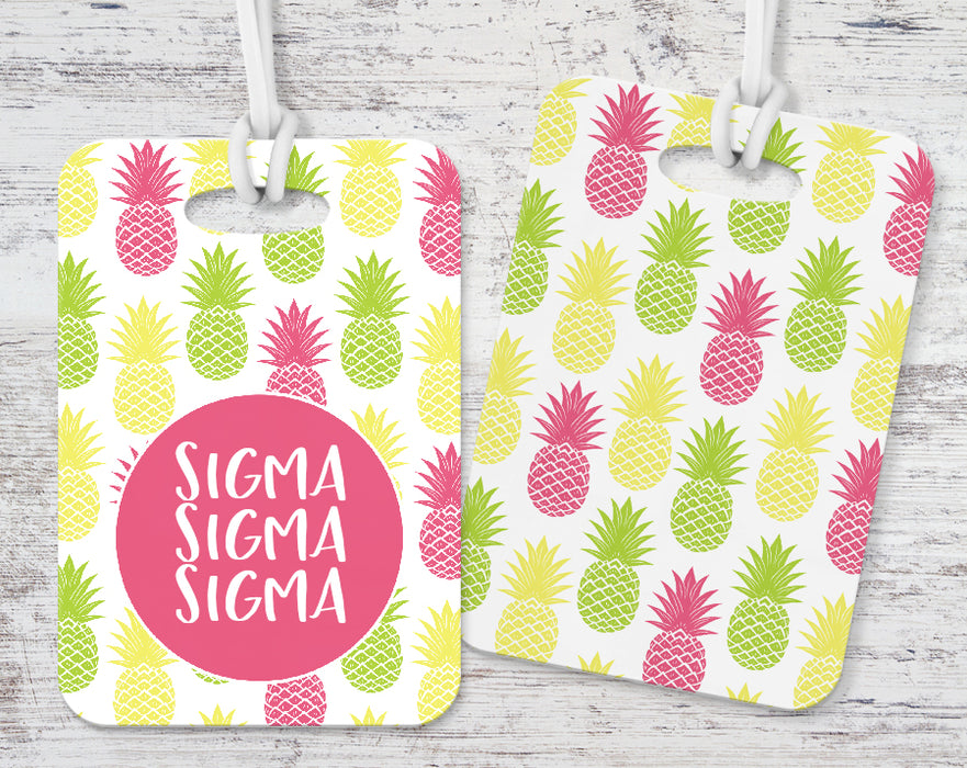 Sigma Sigma Sigma Pineapple Luggage Tag