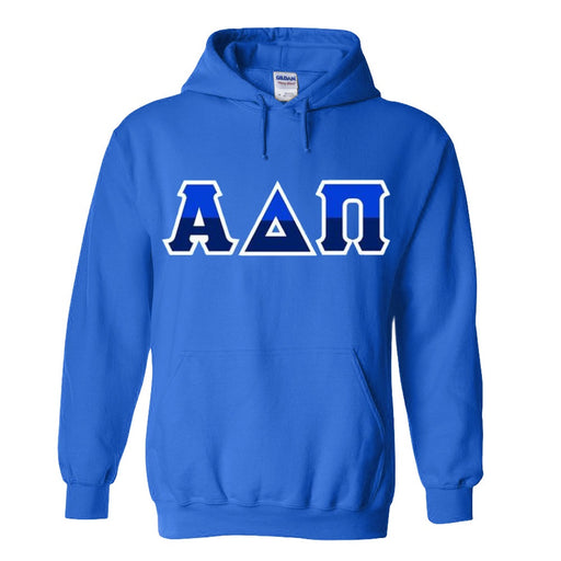 Alpha Delta Pi Two Toned Lettered Hooded Sweatshirt