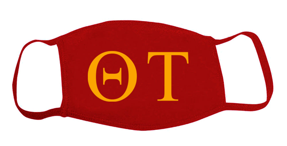 Theta Tau Face Mask With Big Greek Letters