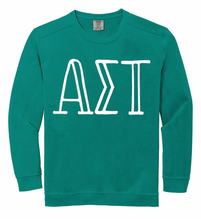Alpha Sigma Tau Comfort Colors Greek Letter Sorority Crewneck Sweatshirt