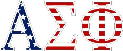 Alpha Sigma Phi American Flag Letter Sticker - 2.5