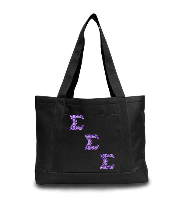 Sigma Sigma Sigma 2-Tone Boat Tote with Sewn-On Letters