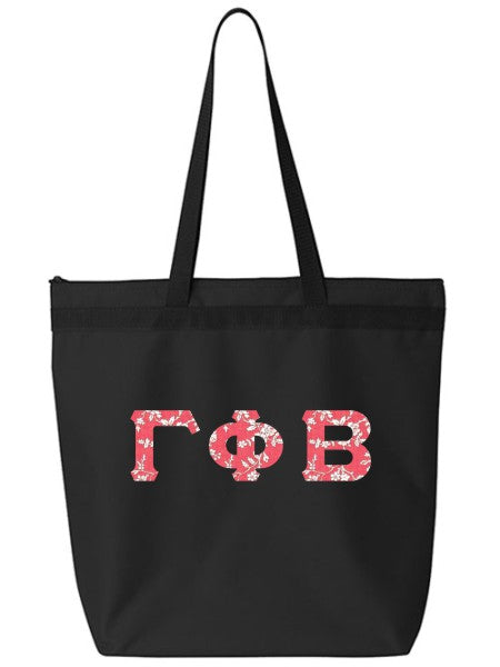 Gamma Phi Beta Large Zippered Tote Bag with Sewn-On Letters