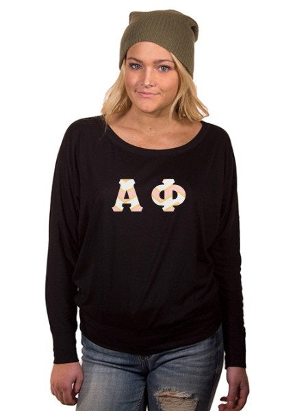 Alpha Phi Off the Shoulder Flowy Long Sleeve Shirt with Letters