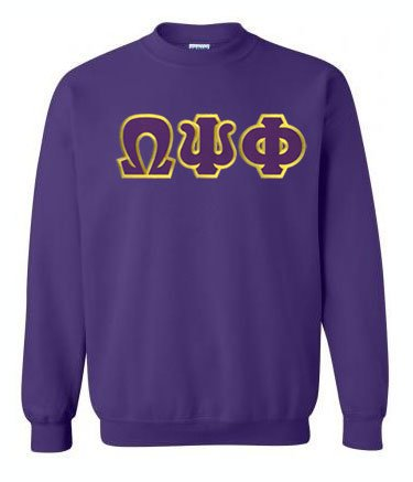 Omega Psi Phi Crewneck Sweatshirt with Sewn-On Letters