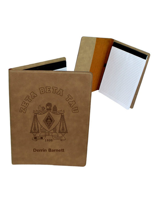 Zeta Beta Tau Leatherette Portfolio with Notepad