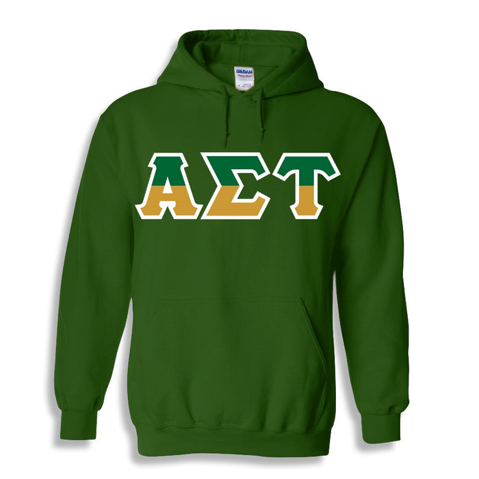 Alpha Sigma Tau Two Toned Lettered Hooded Sweatshirt