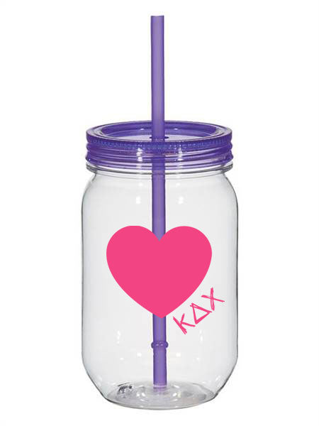 Kappa Delta Chi 25oz Scribbled Heart Mason Jar