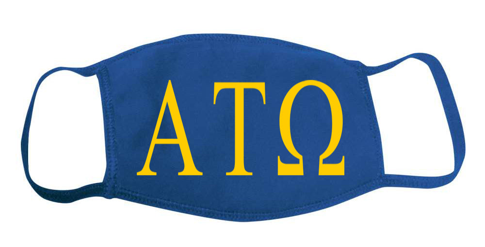 Alpha Tau Omega Face Mask With Big Greek Letters