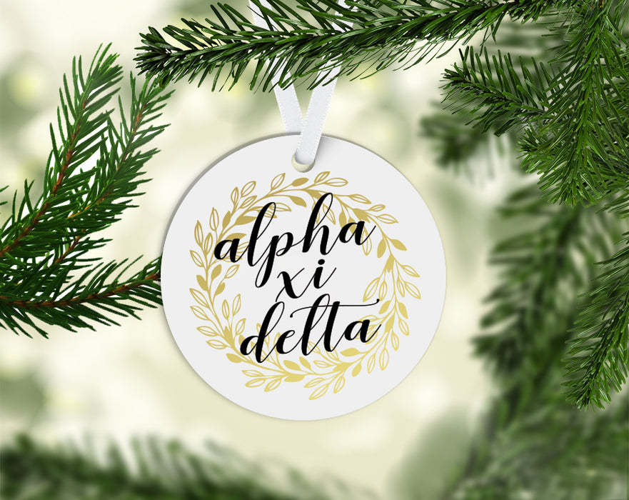 Alpha Xi Delta Round Acrylic Gold Wreath Ornament