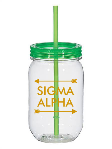 Sigma Alpha Arrow Top Bottom 25oz Mason Jar