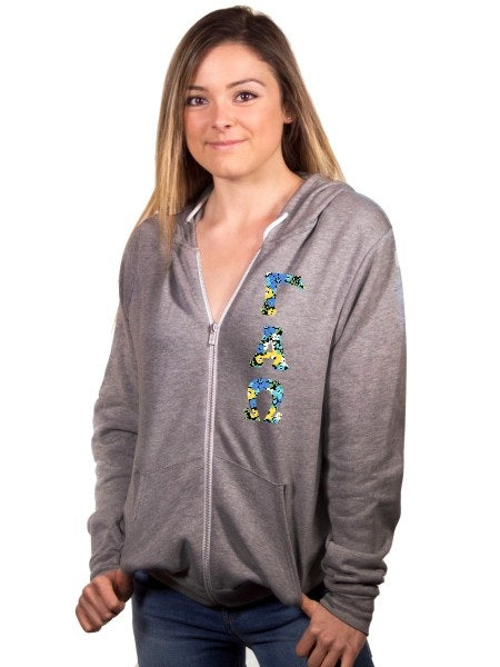Gamma Alpha Omega Fleece Full-Zip Hoodie with Sewn-On Letters
