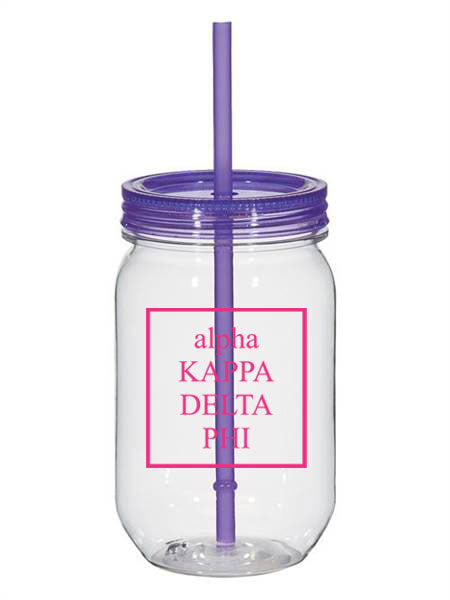 Alpha Kappa Delta Phi Box Stacked 25oz Mason Jar