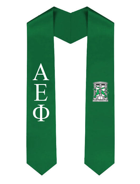 Alpha Epsilon Phi Lettered Graduation Sash Stole with Crest