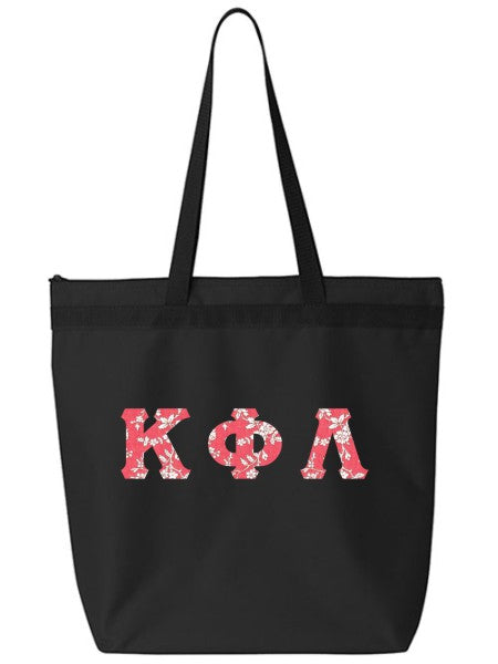 Kappa Phi Lambda Large Zippered Tote Bag with Sewn-On Letters