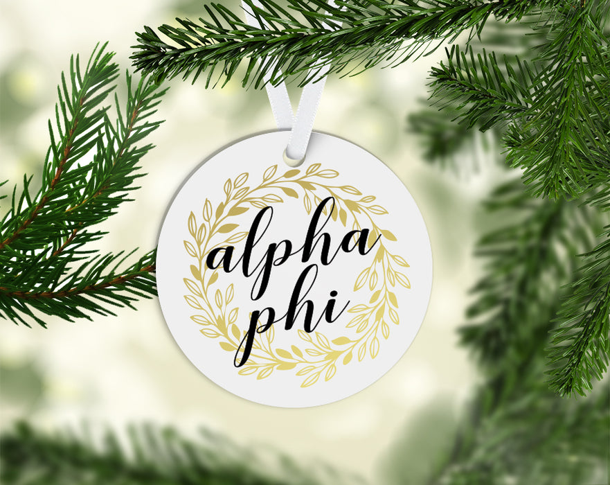 Alpha Phi Round Acrylic Gold Wreath Ornament
