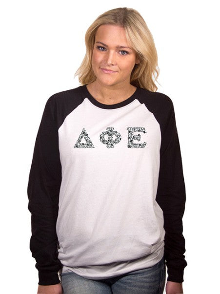 Delta Phi Epsilon Long Sleeve Baseball Shirt with Sewn-On Letters