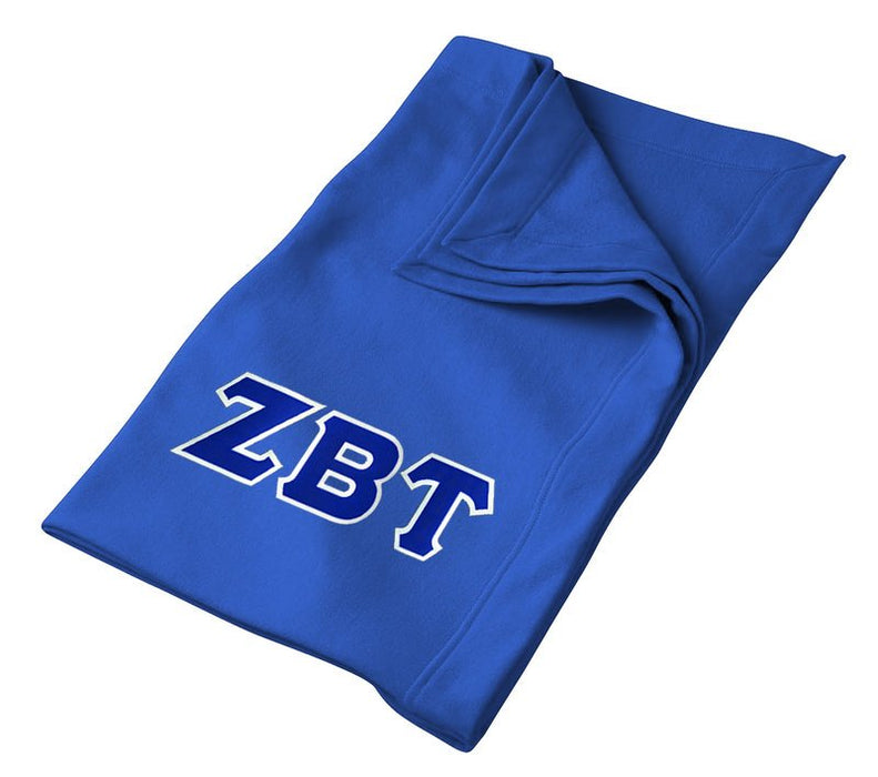 Zeta Beta Tau Greek Twill Lettered Sweatshirt Blanket