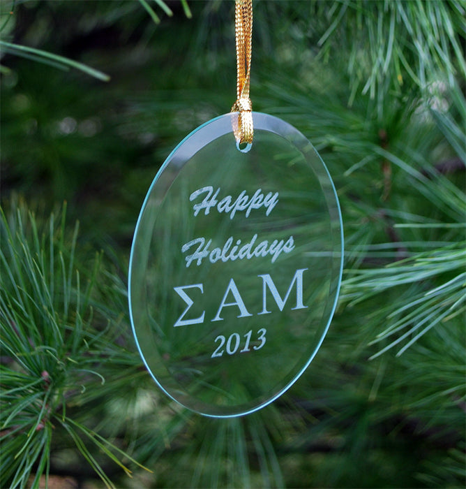 Sigma Alpha Mu Engraved Glass Ornament
