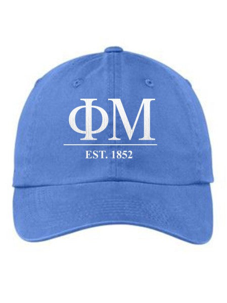 Phi Mu Letters Year Embroidered Hat
