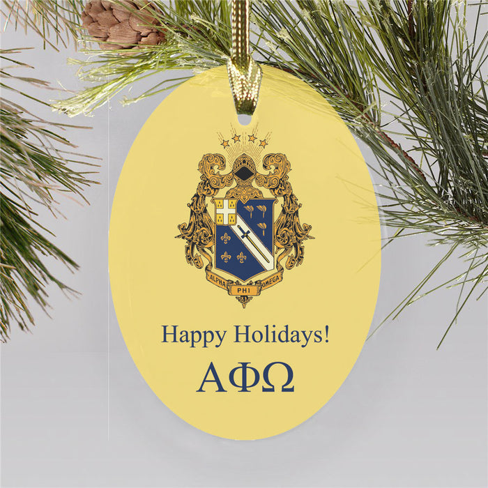 Alpha Phi Omega Holiday Color Crest Glass Ornament Color Crest Ornament