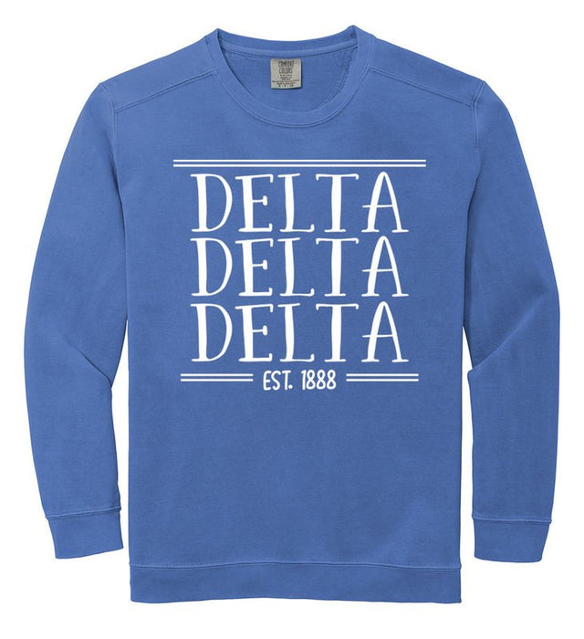 Delta Delta Delta Comfort Colors Custom Sorority Sweatshirt
