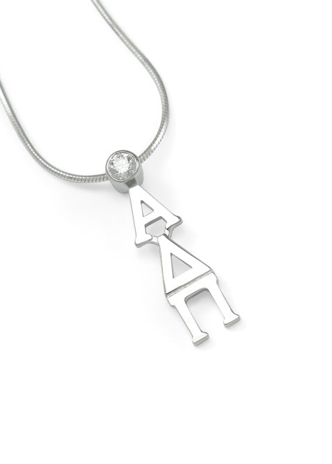 Alpha Delta Pi Sterling Silver Lavaliere Pendant with Clear Swarovski Crystal