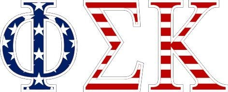 Phi Sigma Kappa American Flag Letter Sticker - 2.5