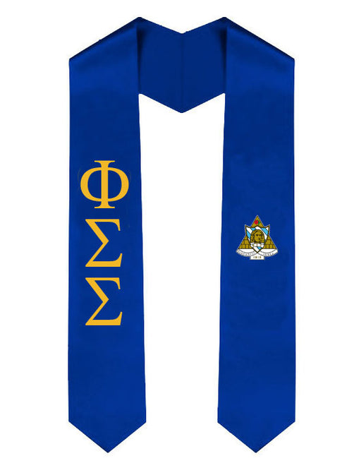 Phi Sigma Sigma Lettered Graduation Sash Stole with Crest