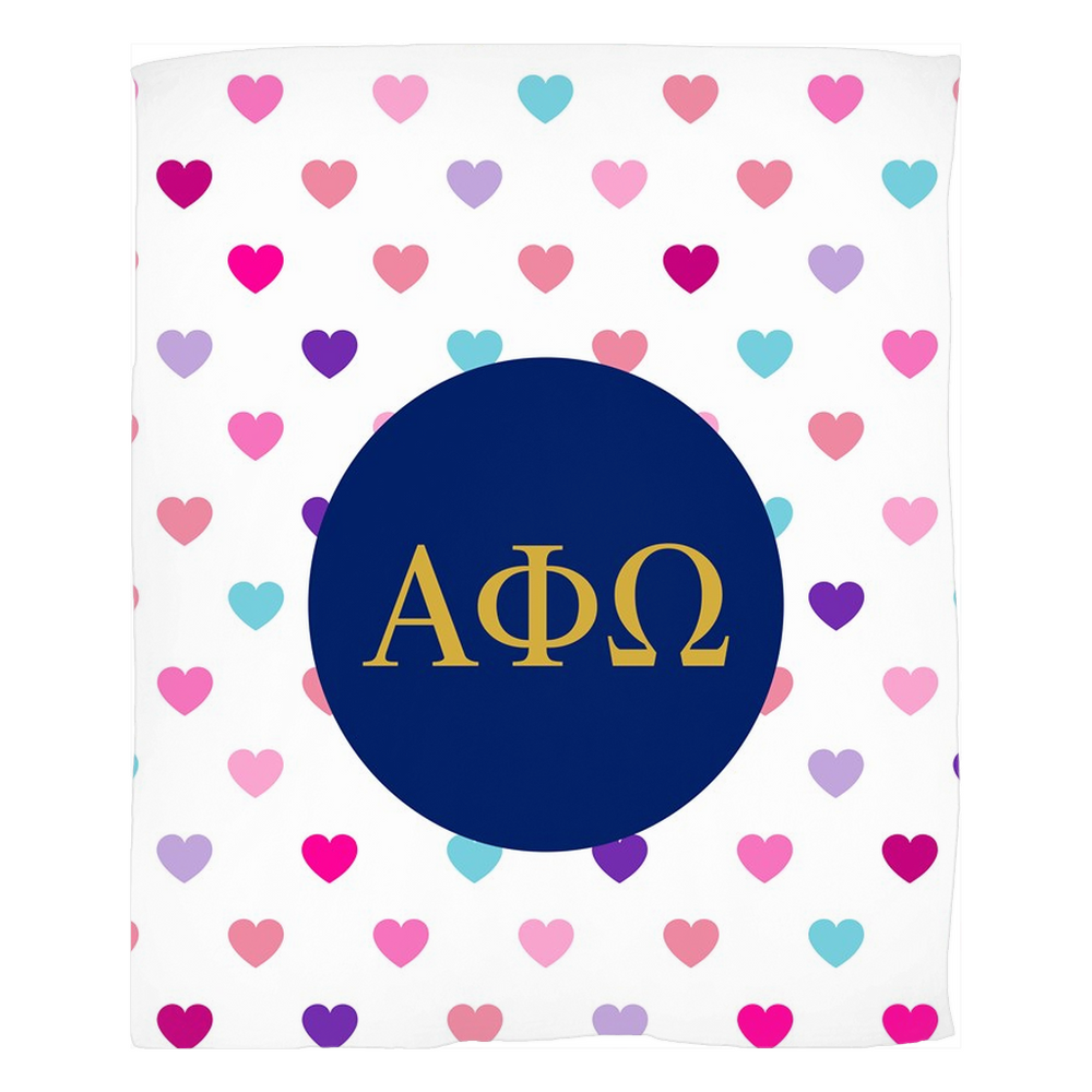 Alpha Phi Omega Hearts Fleece Blankets Alpha Phi Omega Hearts Fleece Blankets