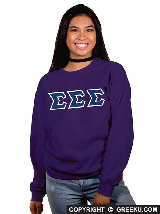 Sigma Sigma Sigma Classic Colors Sewn-On Letter Crewneck