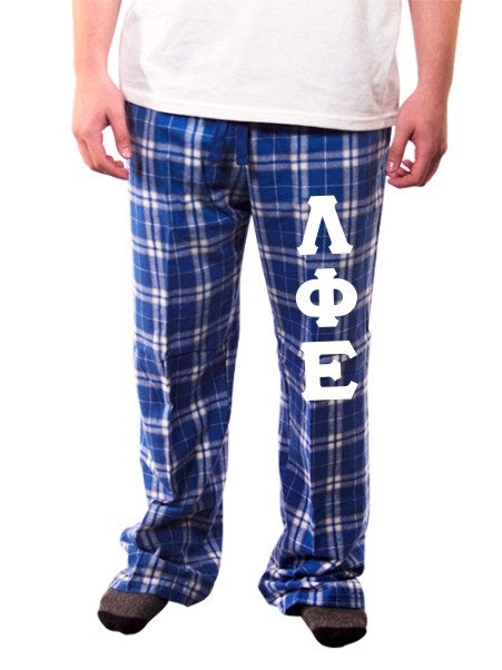 Lambda Phi Epsilon Pajama Pants with Sewn-On Letters