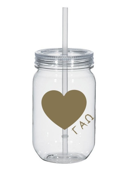 Gamma Alpha Omega 25oz Scribbled Heart Mason Jar