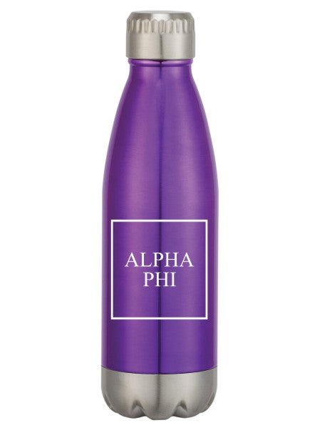 Alpha Phi Box Stacked Swig Bottle