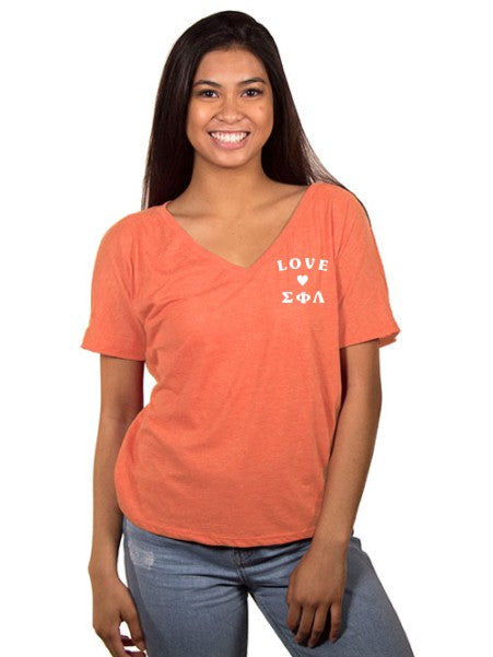 Sigma Phi Lambda Love Letters Slouchy V-Neck Tee